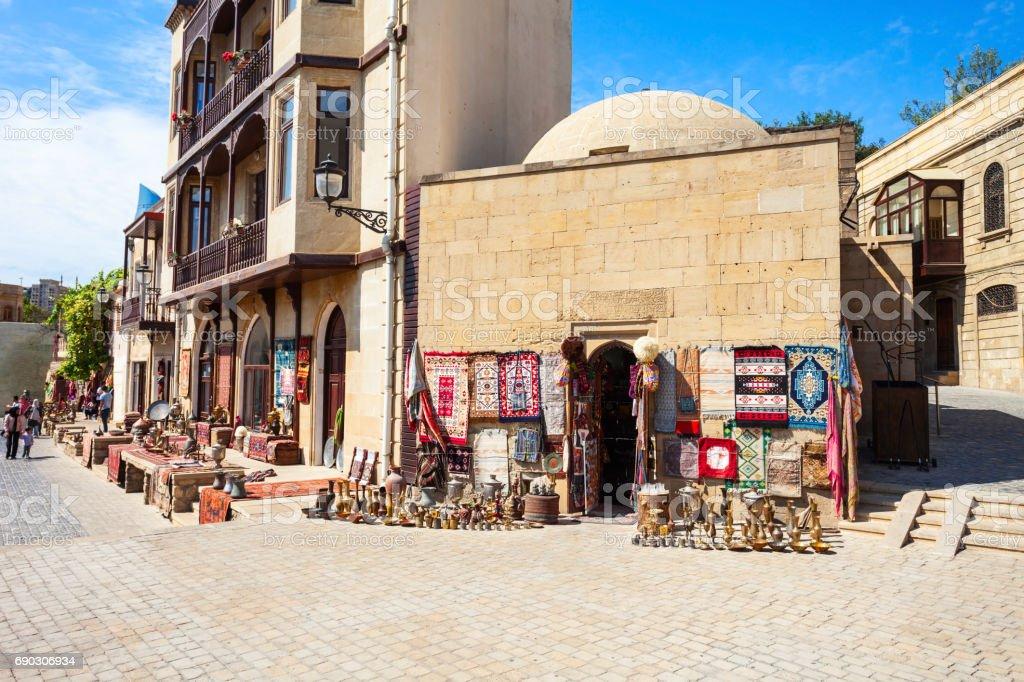 Souvenir market in Baku stock photo