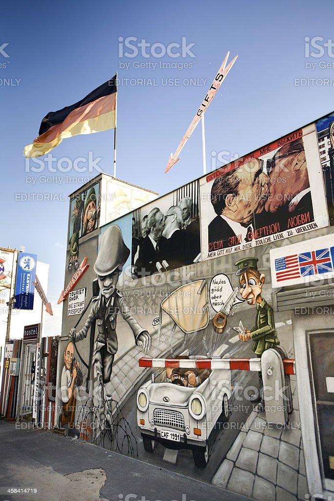 Souvenir shop in Berlin Wall stock photo