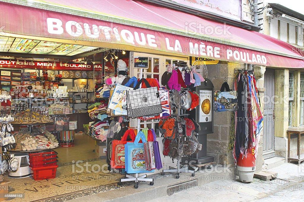 Souvenir shop in the yard abbey of Mont Saint Michel royalty-free stock photo