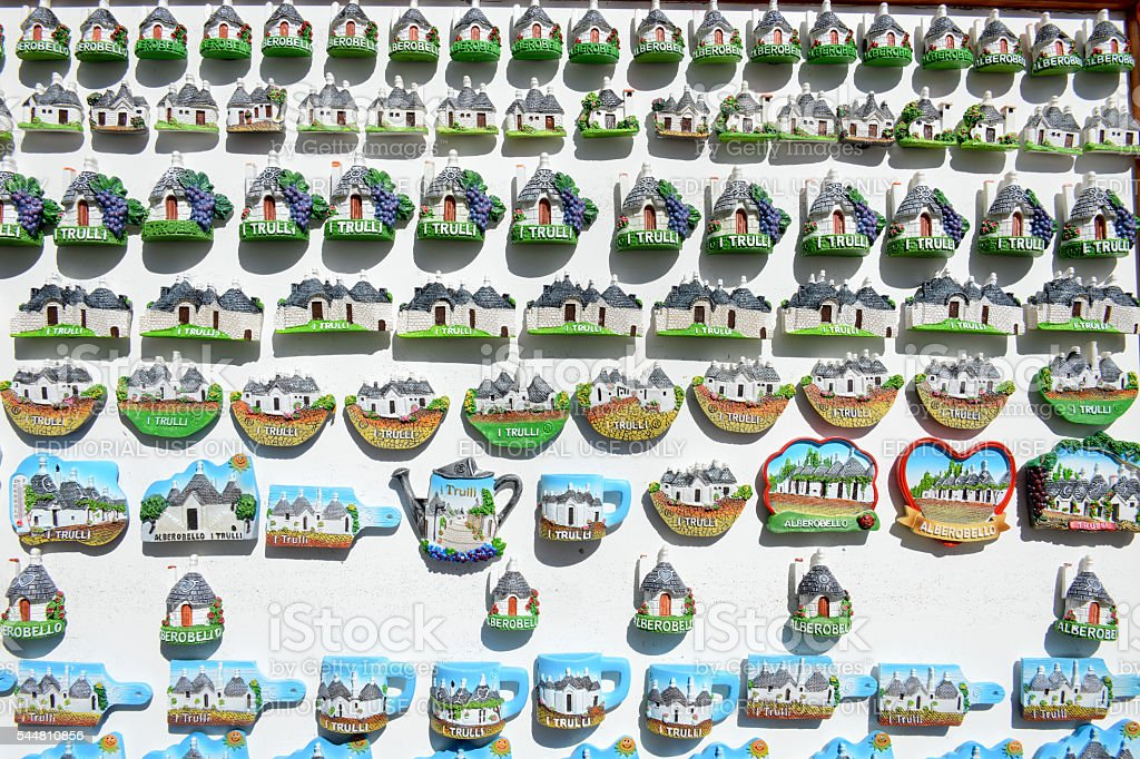 Souvenir shop of Alberobello with trulli houses on Puglia stock photo