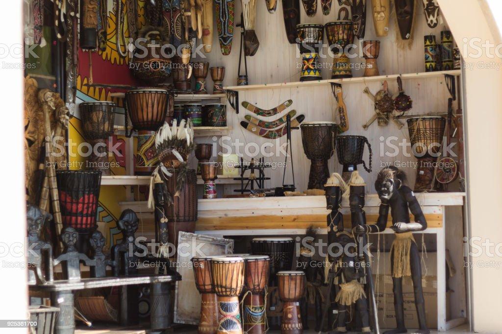 souvenir shop showcase stock photo