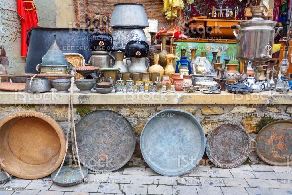 Souvenir shop with antiques in Old city Icheri Sheher. Baku. Azerbaijan - Royalty-free Antique Stock Photo