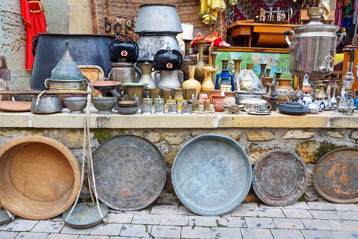 Souvenir Shop With Antiques In Old City Icheri Sheher Baku Azerbaijan Stock Photo - Download Image Now