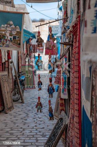 Souvenir street shops in Medina or old town of Tozeur, Tunisia