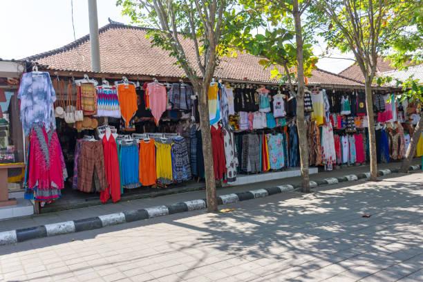 Souvenir shops in Tanah Lot Bali stock photo