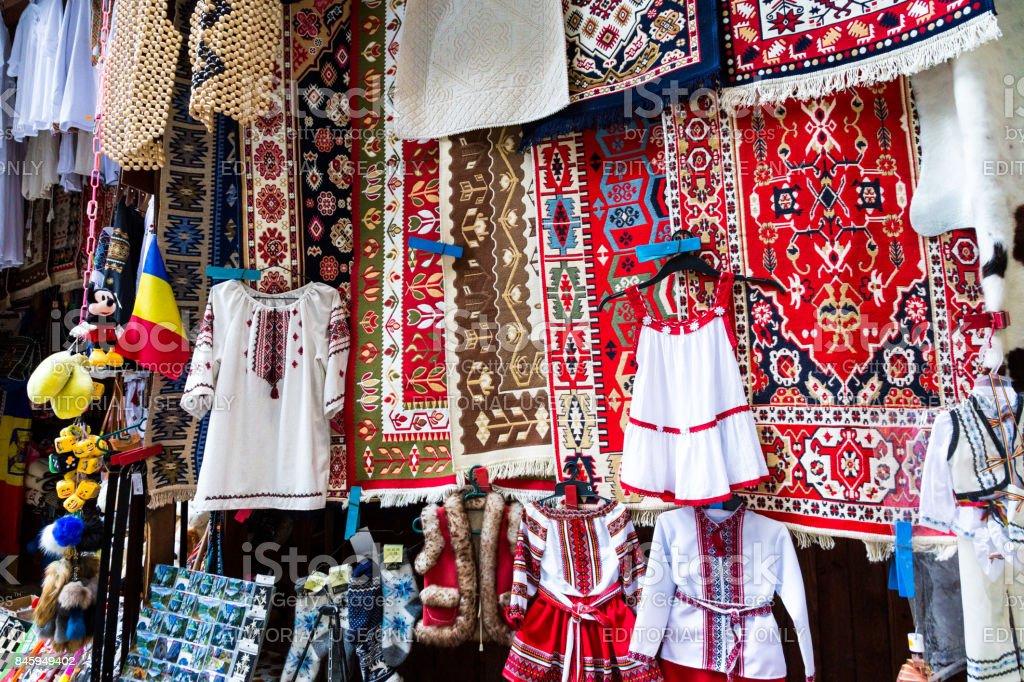 Souvenir stall at Bicaz Gorge, Transylvania, Romania stock photo