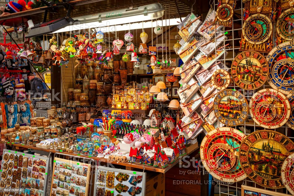 Souvenir stall in Prague, Czech Republic. stock photo