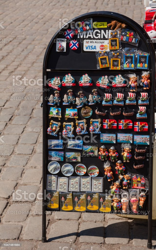 ff828073 Souvenir stall with fridge magnets for sale in Oslo Norway Scandanavia  royalty-free stock photo