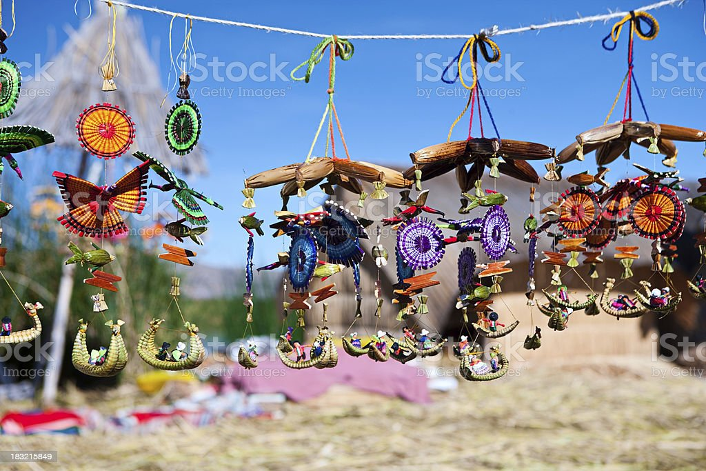 Souvenirs for sale on Uros floating island stock photo