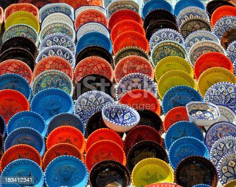 Tunisian pottery on the Hammamet bazaarTunisia lightbox: