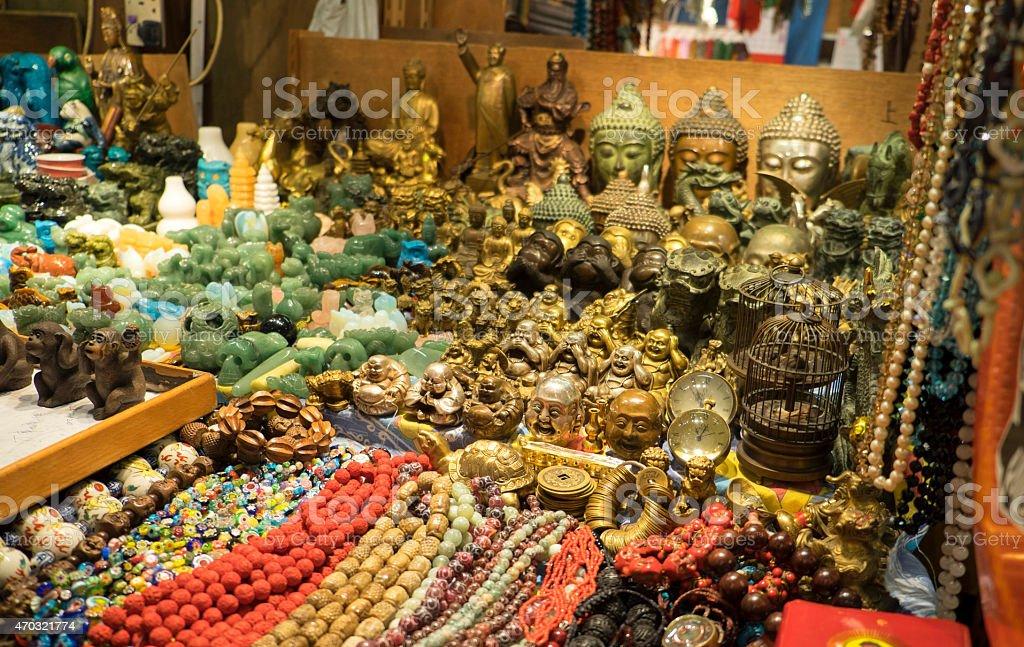 Souvenirs in Hong Kong Jade Market stock photo