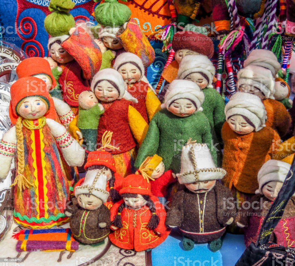 Souvenirs in market in Almaty, Kazakhstan royalty-free stock photo