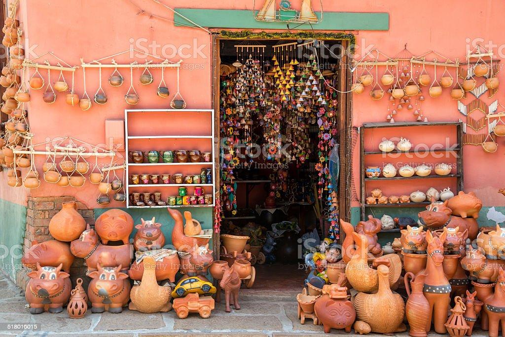 Souvenirs in Raquira stock photo