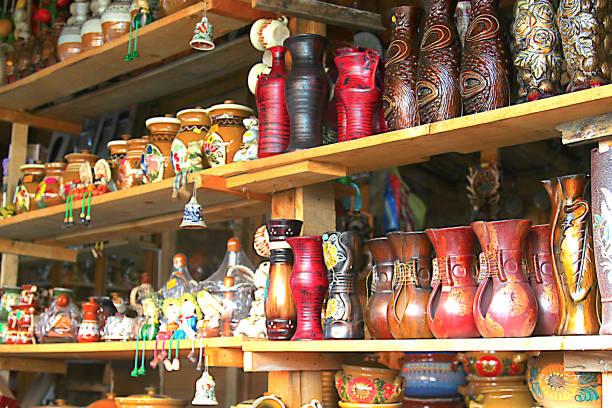 Souvenirs in the town of HOREZU-ROMANIA stock photo