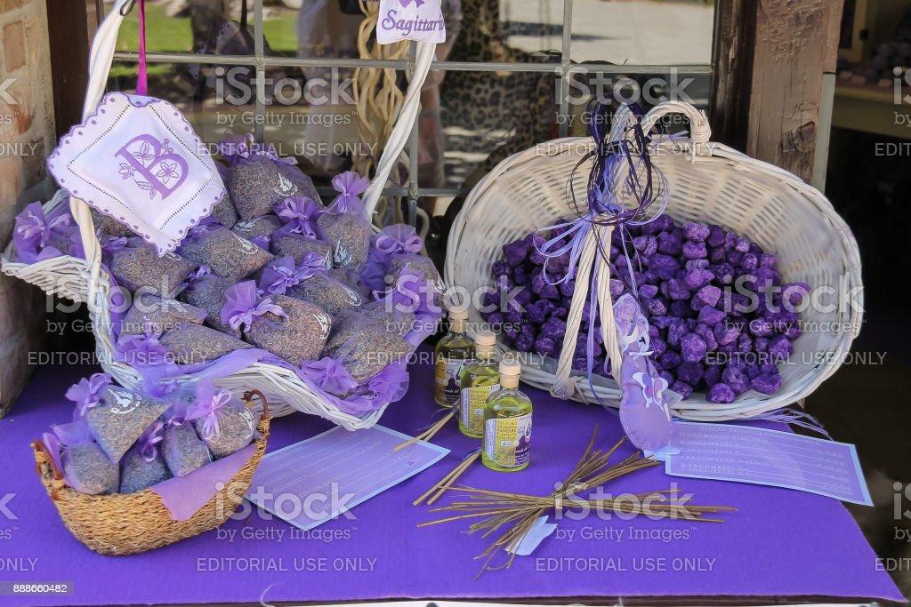 Souvenirs made from lavender in tourist gift shop. Grazzano Visconti, Italy stock photo