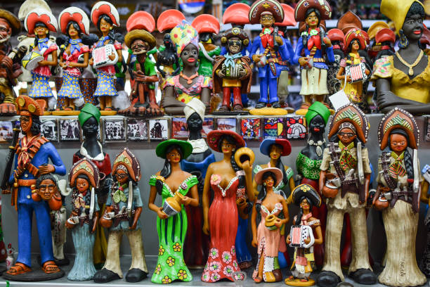 Souvenirs of Ceara, Central Market of Fortaleza Fortaleza, Ceara, Brazil - Circa November 2017: Inside Central Market in Fortaleza, Ceará, traditional products and souvenirs. craft product stock pictures, royalty-free photos & images