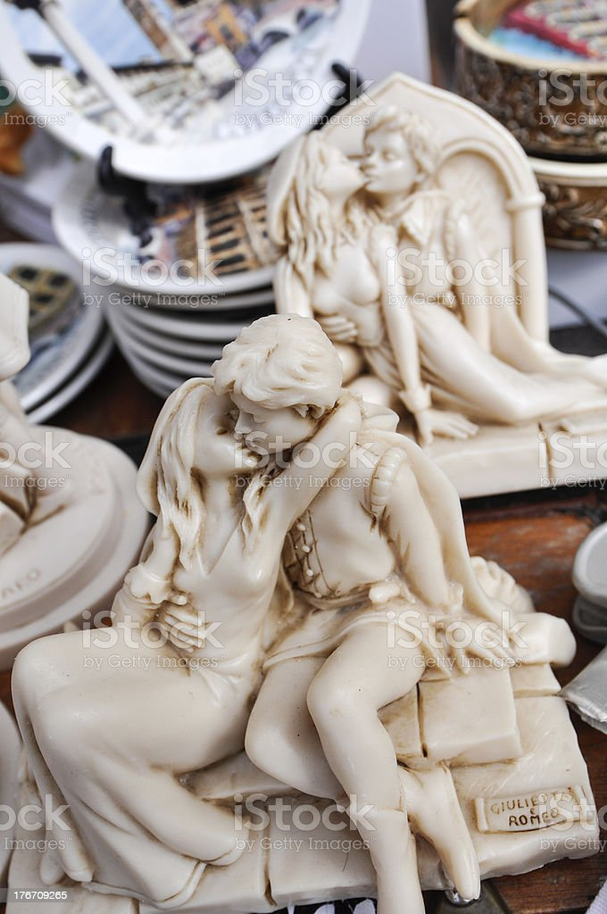 souvenirs of Romeo and Juliet kissing royalty-free stock photo
