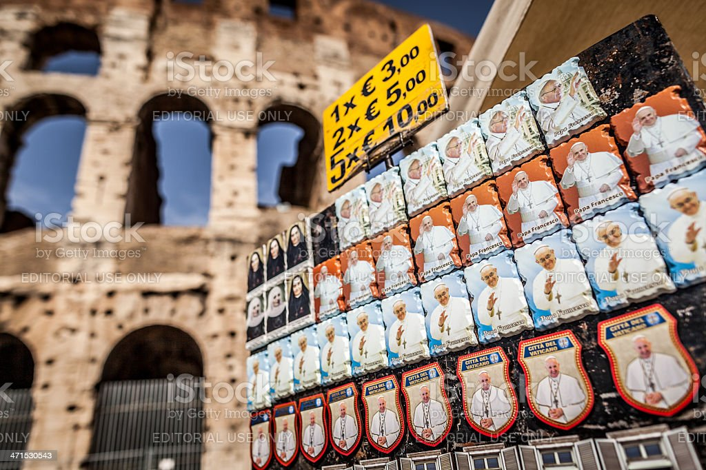 Souvenirs under the Coliseum in Rome royalty-free stock photo