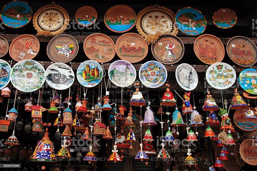 Souvenirs with views of Vilnius and Trakai in souvenir shop stock photo