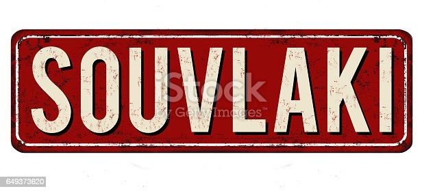 istock Souvlaki vintage rusty metal sign 649373620