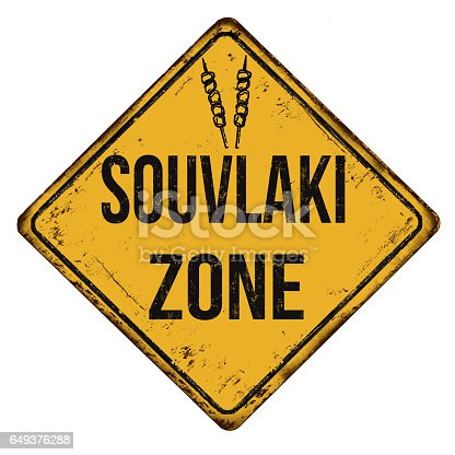 istock Souvlaki zone vintage rusty metal sign 649376288