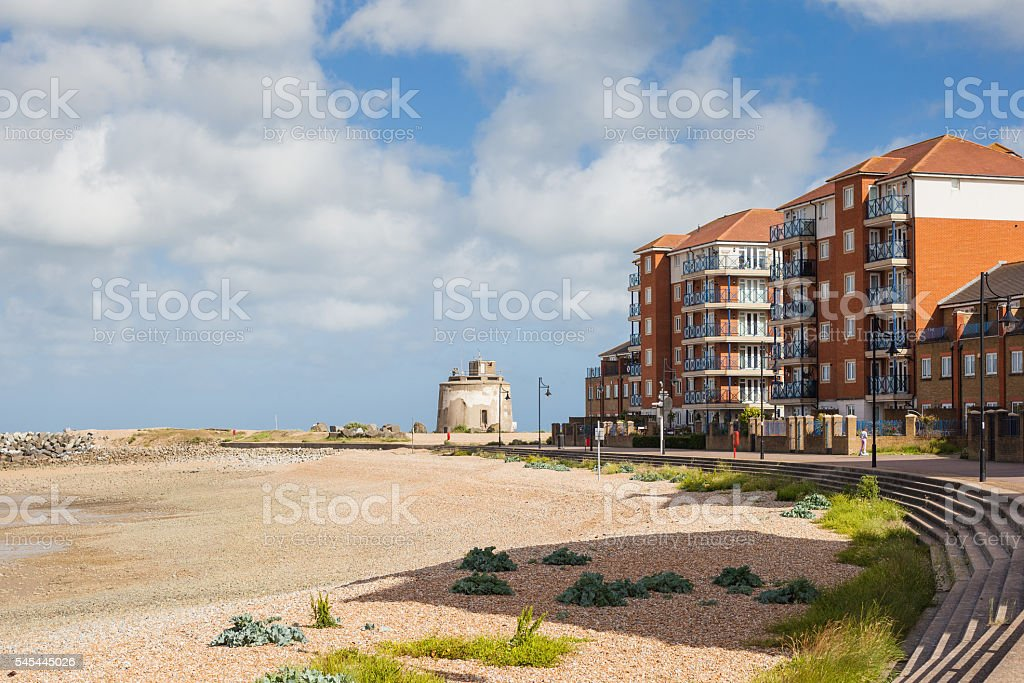 Sovereign harbour beach, Eastbourne, East Sussex stock photo