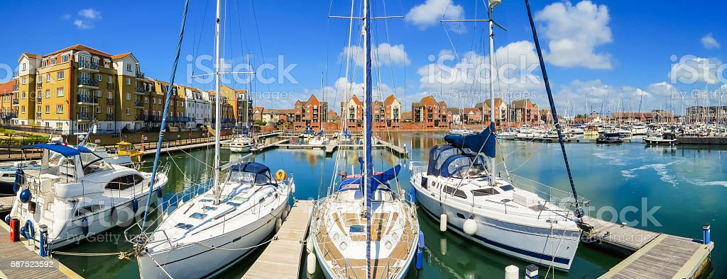 Sovereign Harbour Marina, Eastbourne, East Sussex, England stock photo