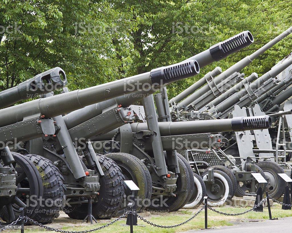 WW II Soviet and British cannons stock photo