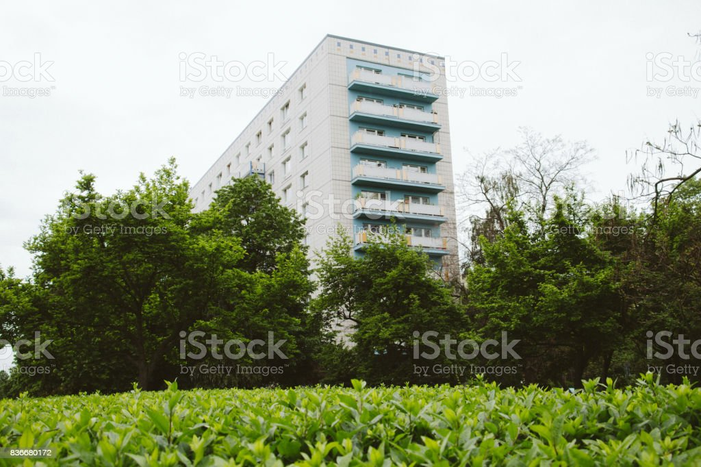 Soviet architecture in East Berlin apartment bulding from cold war era stock photo