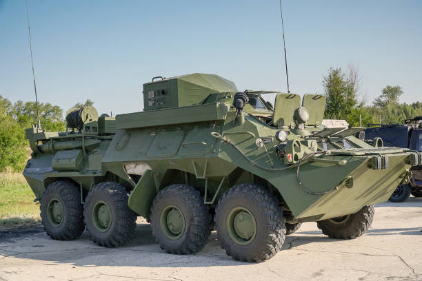 Soviet armored personnel carrier service stock photo