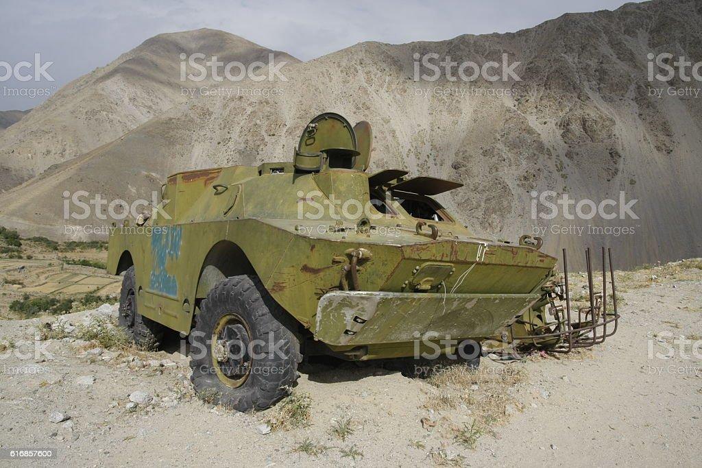 Soviet armoured car in Afghanistan stock photo