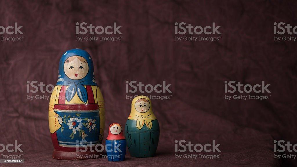 Sowietisches Babuschka-Kopftuch weibliche Trio – Foto