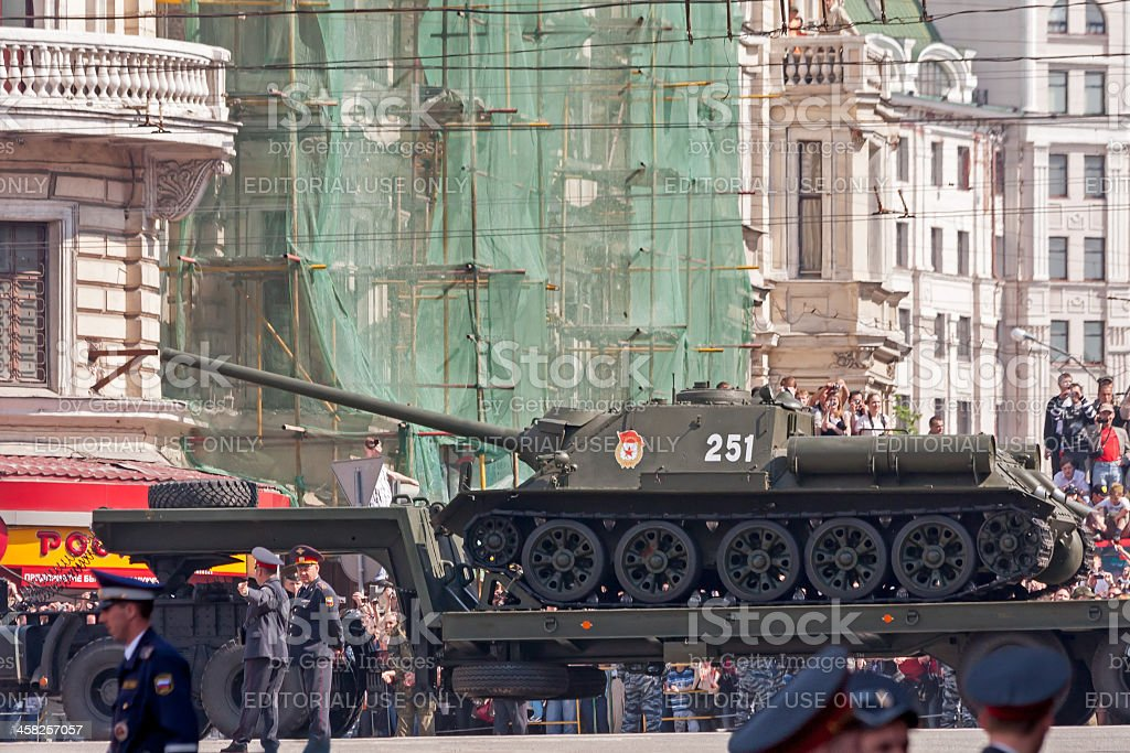 SU-100 Soviet casemate-style tank destroyer stands on haulage truck royalty-free stock photo