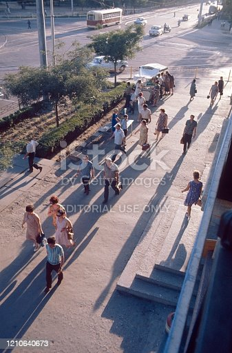 Soviet Union (unfortunately the exact location is not known), 1980. Streetscene. Soviet citizens on the way to work in a new Soviet settlement.