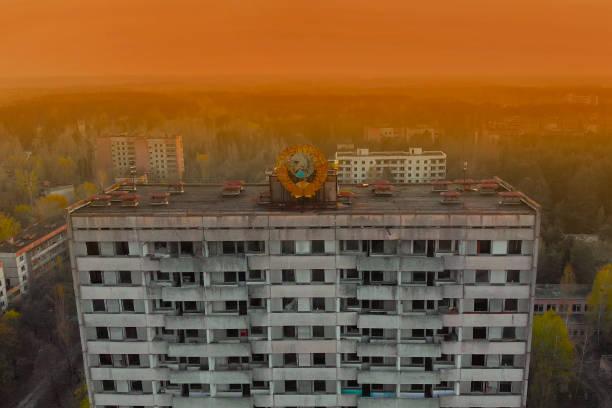 Sowjetisches Wappen auf einem Gebäude in Pripyat – Foto