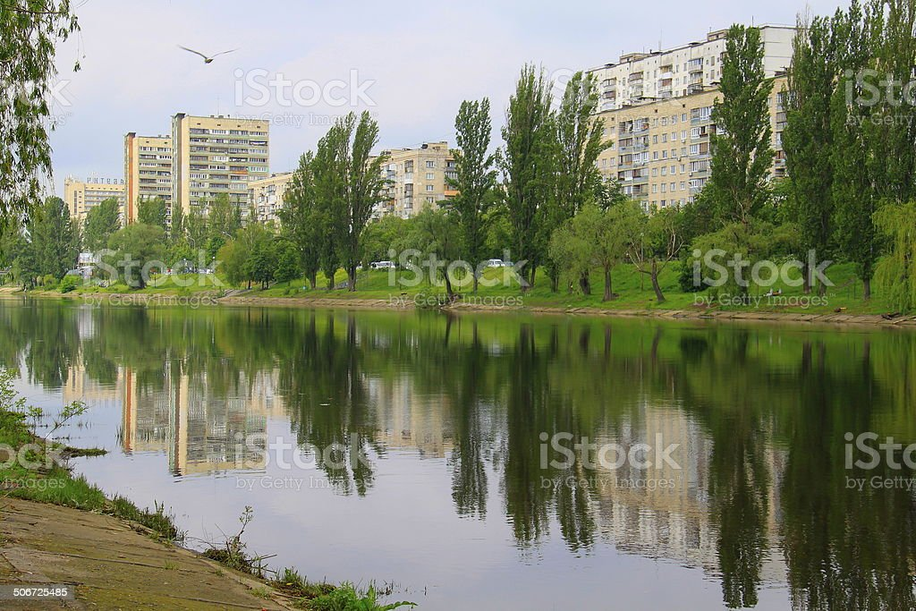 Soviet communist architecture buildings in Kyiv canal, Ukraine royalty-free stock photo