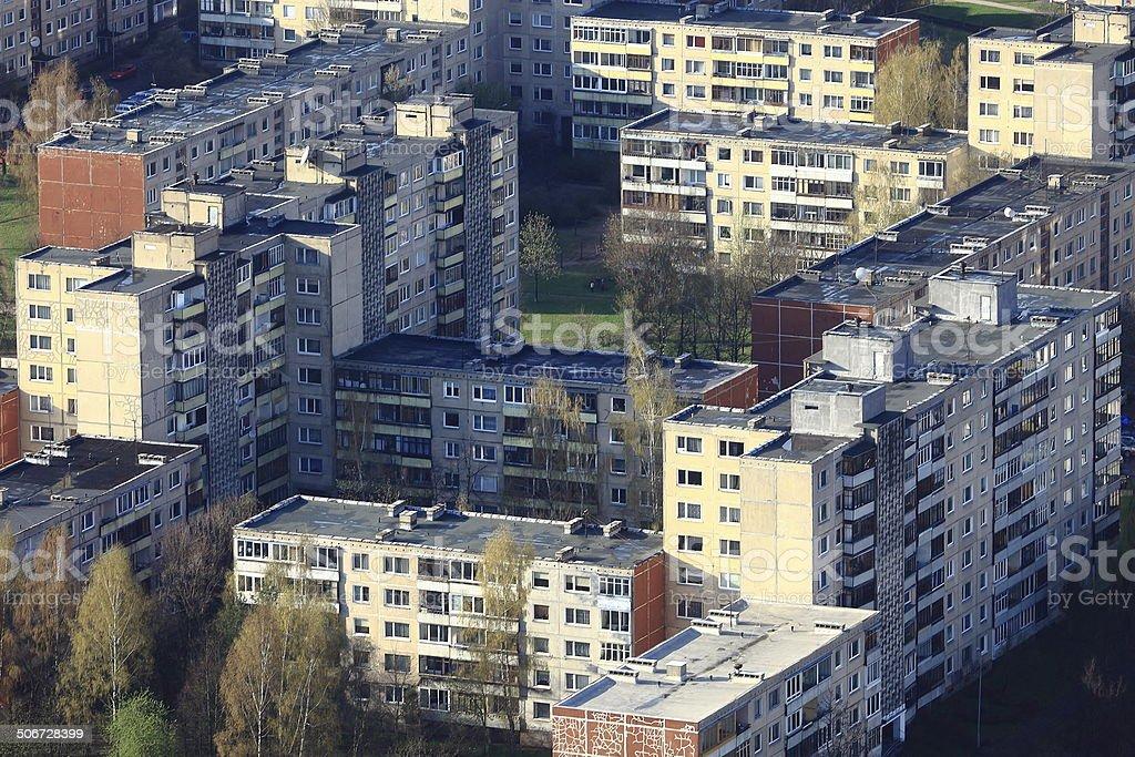 Soviet communist architecture buildings in Vilnius, Lithuania stock photo