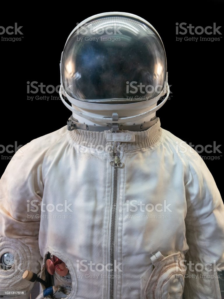 Soviet cosmonaut or astronaut or spaceman suit and helmet on black background - foto stock