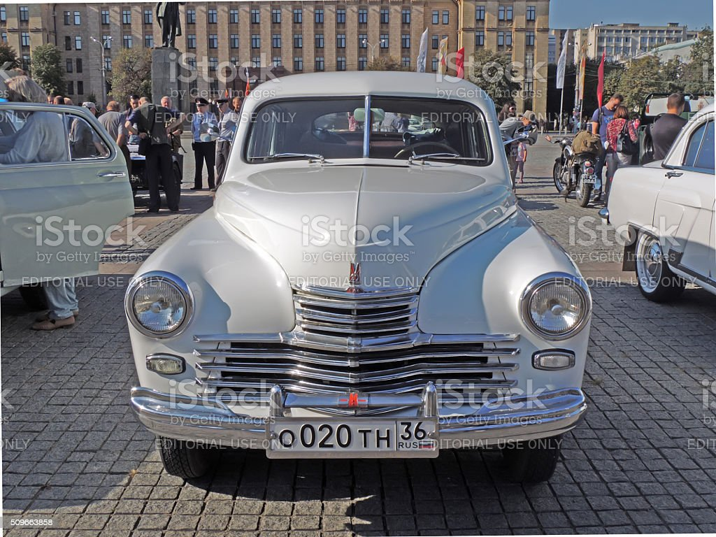 Soviet executive car of 1950s fastback GAZ-M20 Pobeda front view stock photo