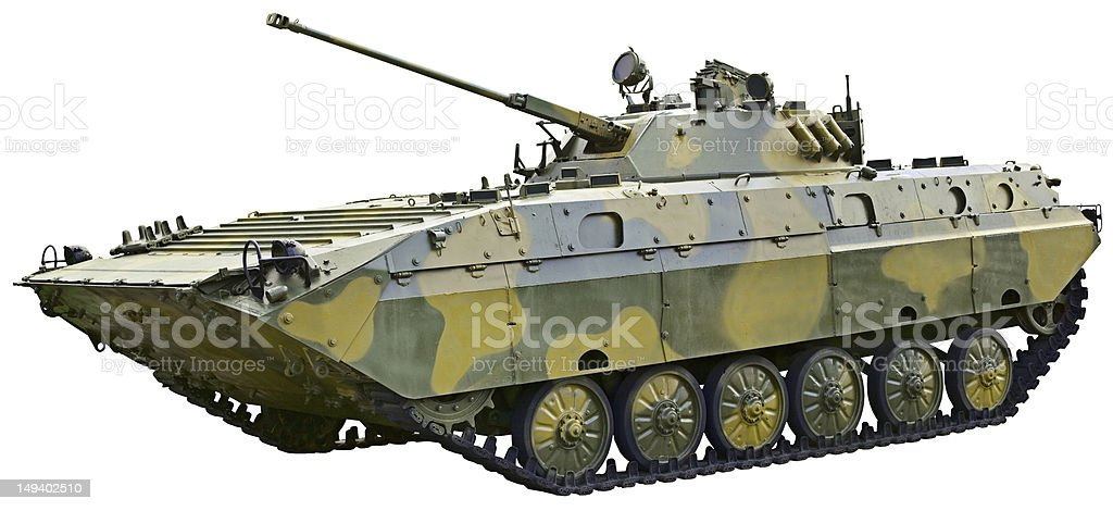 BMP 2 - Soviet fighting vehicle on white background stock photo