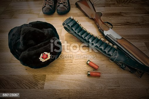 istock Soviet Fur Hat with Weapon 530123057