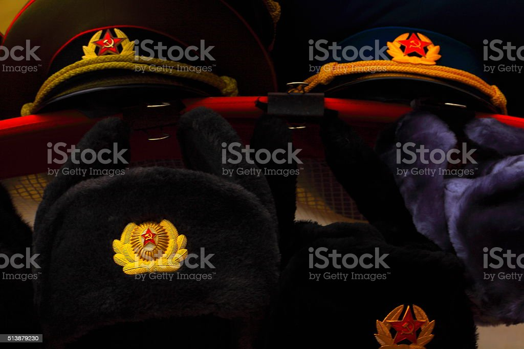 Soviet hats souvenirs, Ushanka, Russian red square, Moscow stock photo