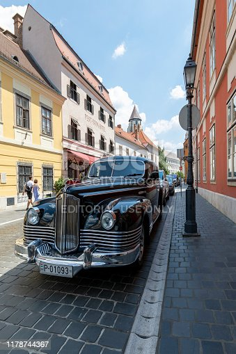 Budapest Hungary - Jun 17, 2018: A Soviet built luxury state car (GAZ 12) in Budapest Castle District. Tese vehicles were used by commonist officials  District. This is one of the originalt vehicle.
