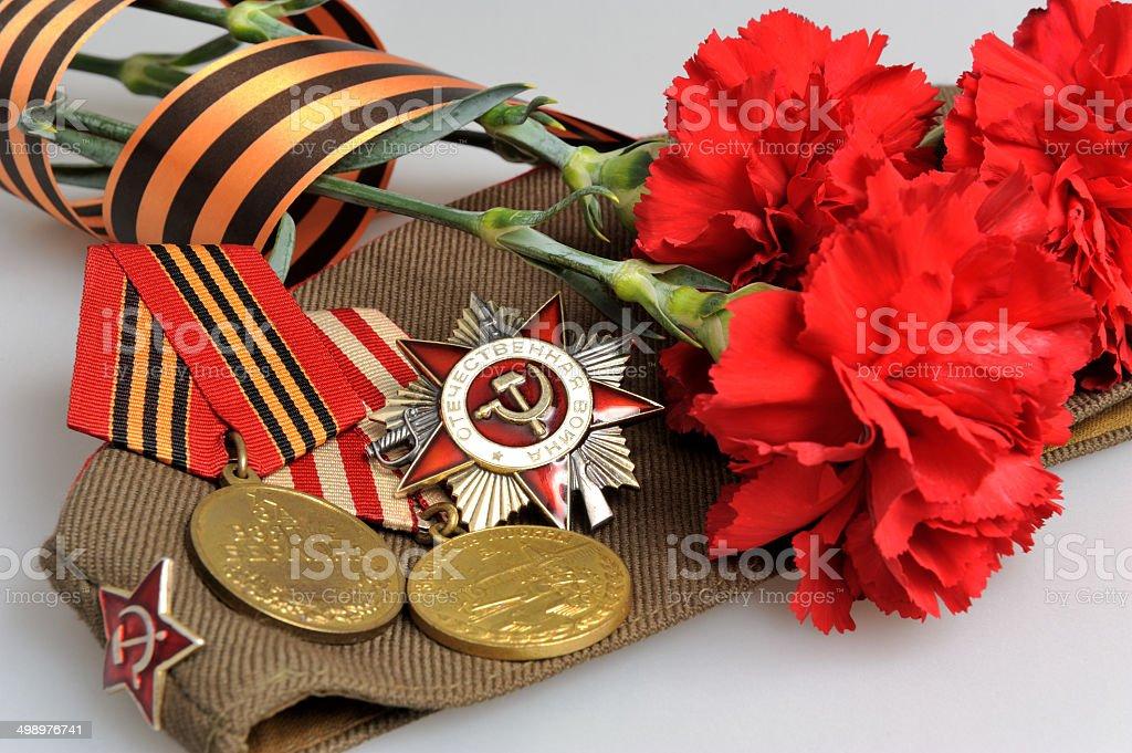 Soviet Military Cap Flowers Saint George Ribbon Medals Of