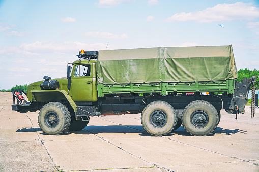 Old Soviet military vehicle for transporting soldiers