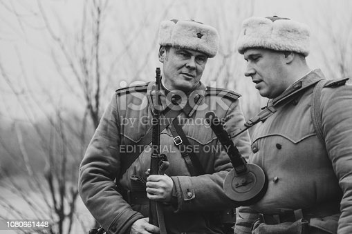 1143756392 istock photo Soviet officers of the Second World War with PPSh assault rifles. Gomel, Belarus 1080661448