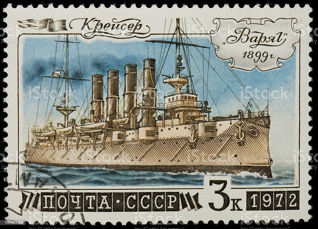 Soviet postage stamp with Russian cruiser Varyag stock photo