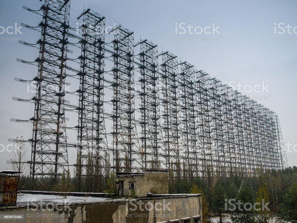 Soviet Radar Station DUGA 3 in the Chernobyl Exclusion Zone in Ukraine, 2016 stock photo