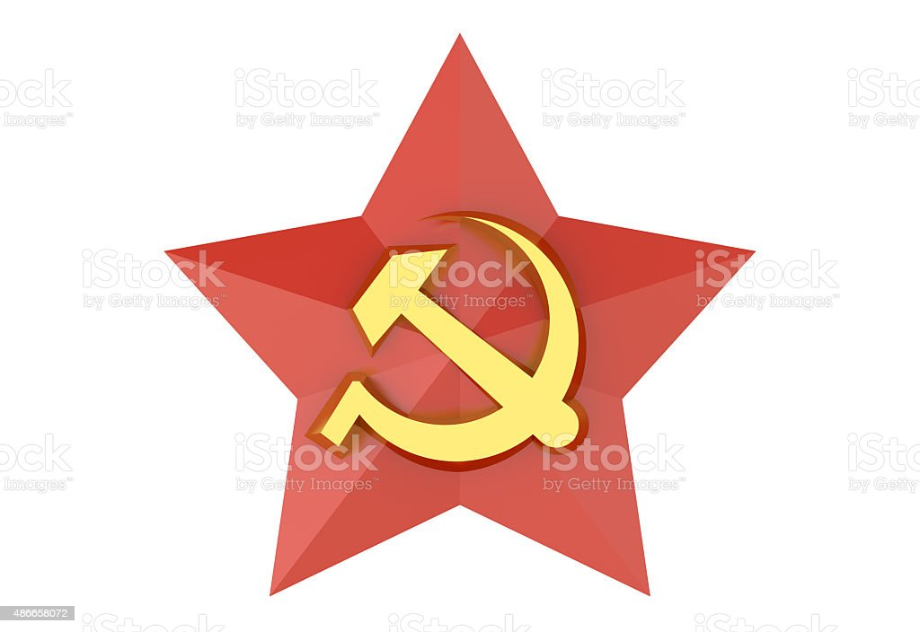 Soviet red star badge stock photo