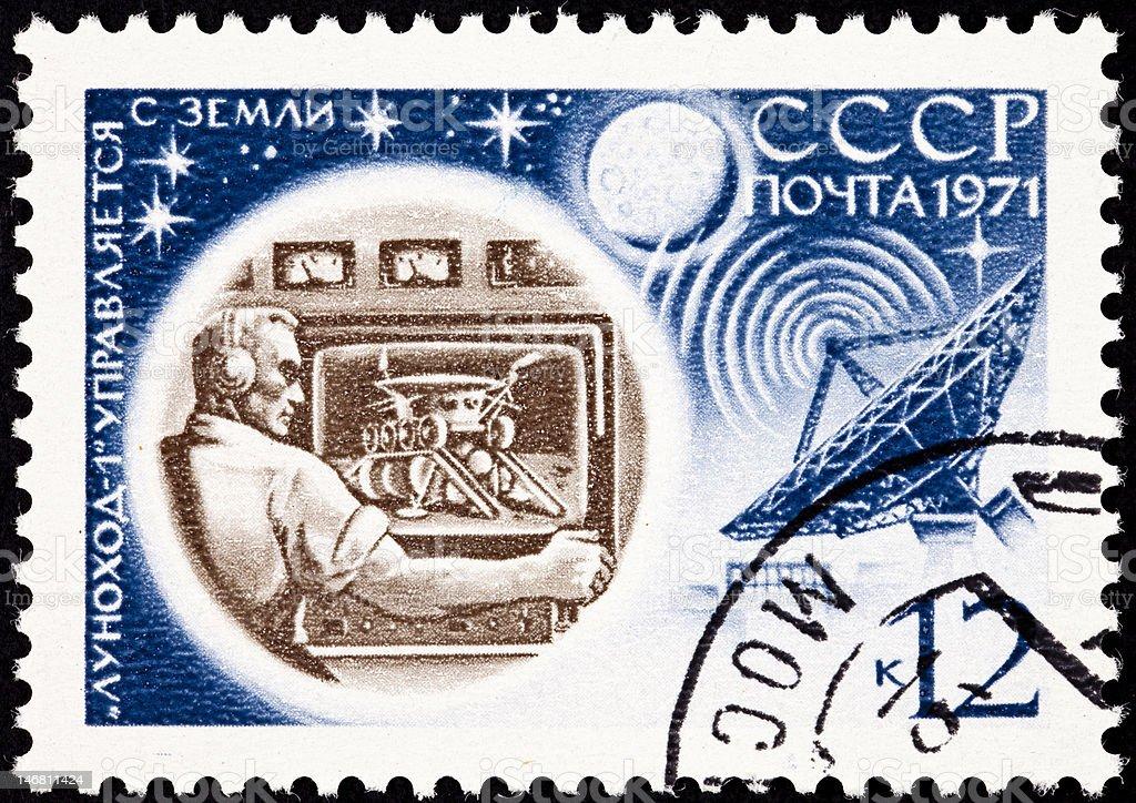 Soviet Russia Postage Stamp Lunokhod Flight Control Man,Television, Satellite stock photo